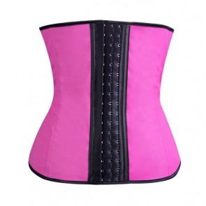 Ultimate Sports Latex Waist Shaper met stalen baleinen - roze