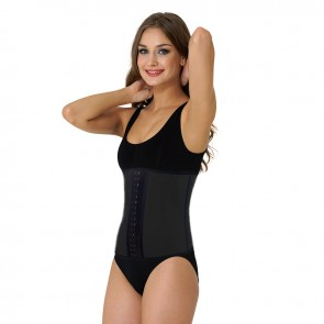 Ultimate Sports Latex Waist Shaper met stalen baleinen | Zwart